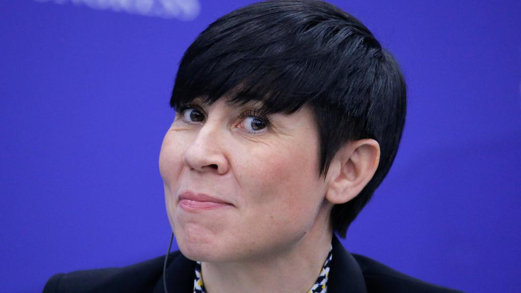Norwegian Foreign Minister Ine Marie Eriksen Soreide attends a session of the International Arctic Forum in Saint Petersburg