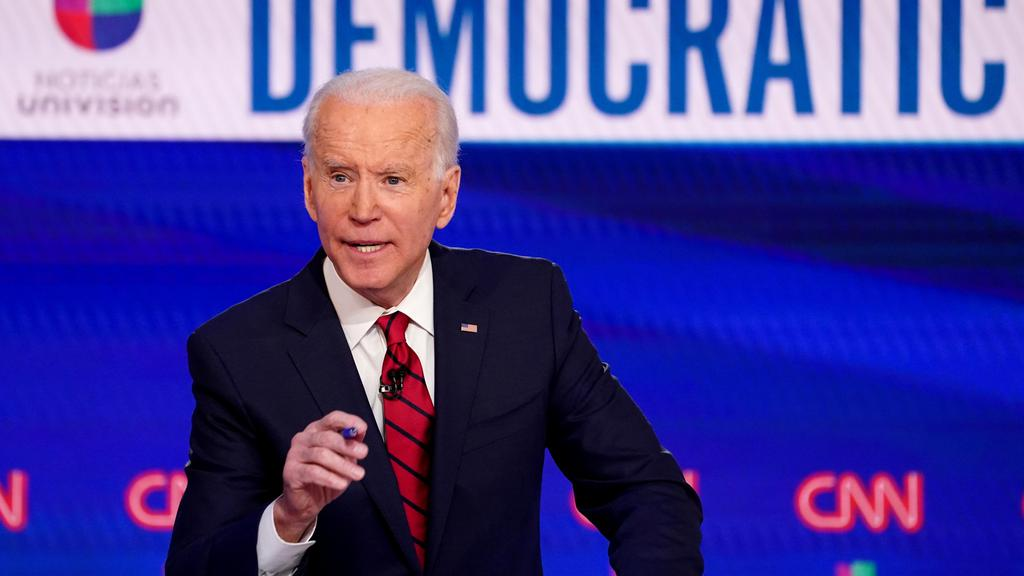FILE PHOTO: Democratic U.S. presidential candidate and former Vice President Joe Biden speaks at the 11th Democratic candidates debate of the 2020 U.S. presidential campaign in Washington