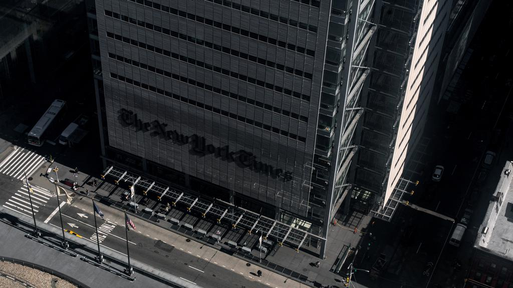 Empty street is seen outside the New York Times building in Manhattan borough following the outbreak of coronavirus disease (COVID-19), in New York City