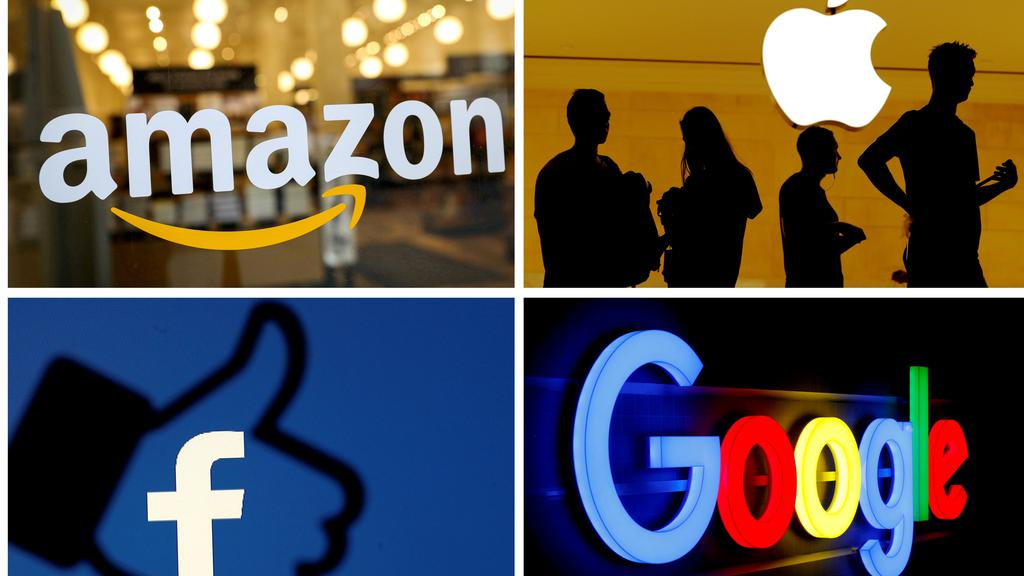 FILE PHOTO: The logos of Amazon, Apple, Facebook and Google