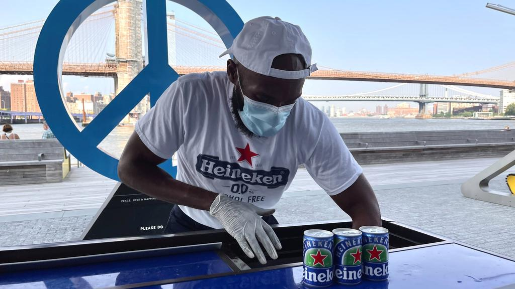 Cans of Heineken non-alcoholic beer are seen at a sampling event at Pier 17 in New York City''s Seaport District