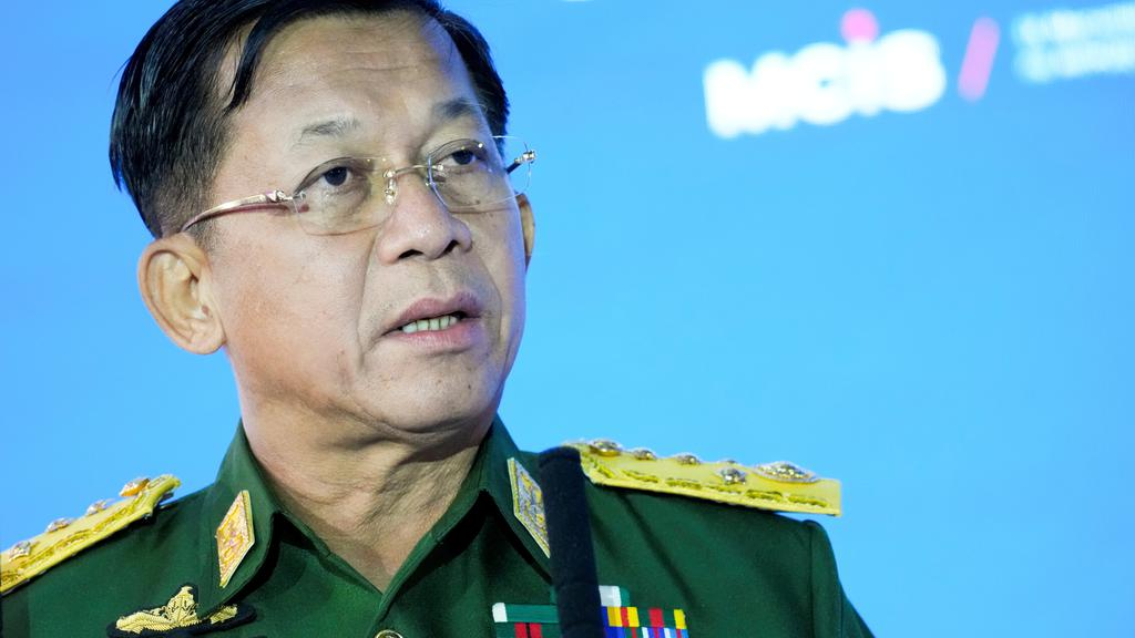 FILE PHOTO: Commander-in-Chief of Myanmar''s armed forces, Senior General Min Aung Hlaing, delivers a speech at the IX Moscow conference on international security in Moscow