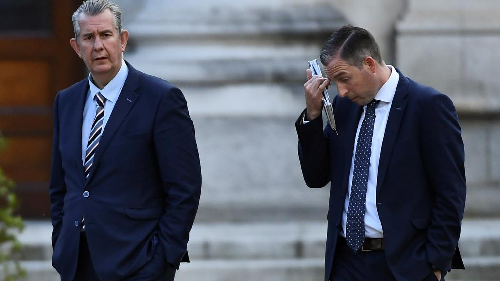 FILE PHOTO: Leader of the Democratic Unionist Party (DUP) Edwin Poots and Paul Givan MLA