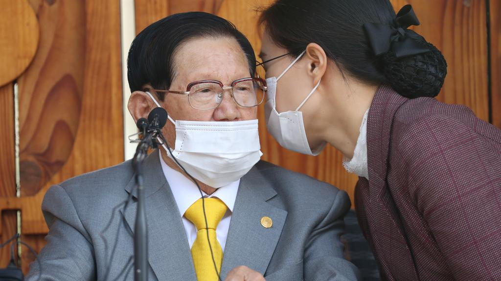 Lee Man-hee, founder of the Shincheonji Church of Jesus the Temple of the Tabernacle of the Testimony, attends a news conference at its facility in Gapyeong