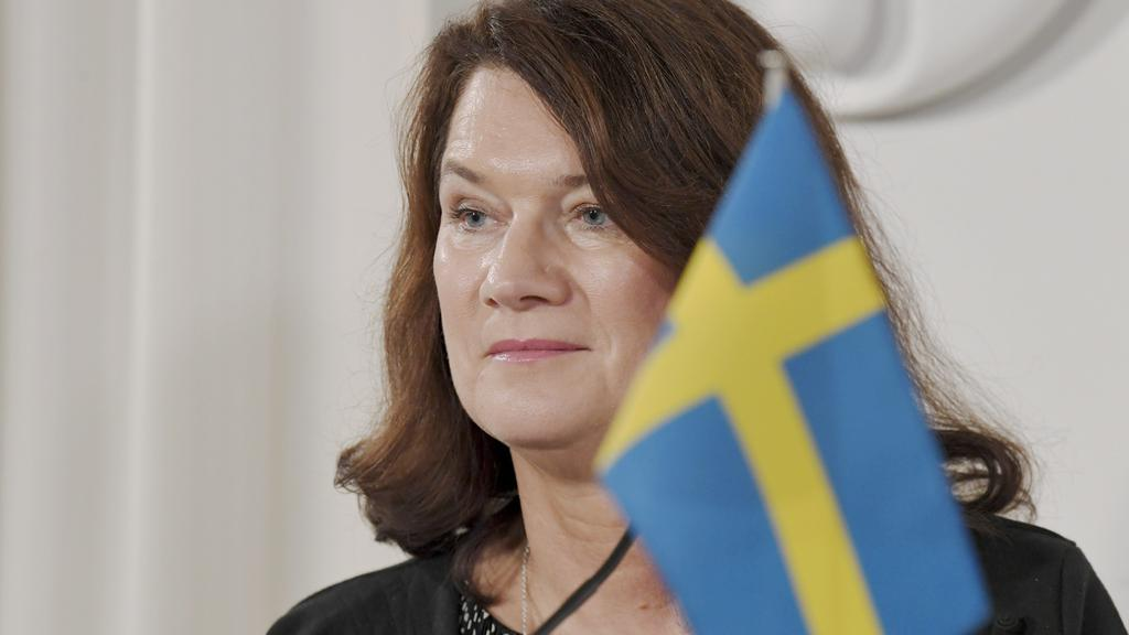 Foreign Minister of Sweden Ann Linde looks om during joint press conference with Finnish Foreign Minister Pekka Haavisto in Helsinki