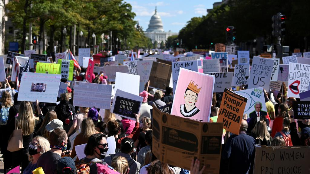 Women''s March activists participate in a nationwide protest against U.S. President Donald Trump''s decision to fill the seat on the Supreme Court