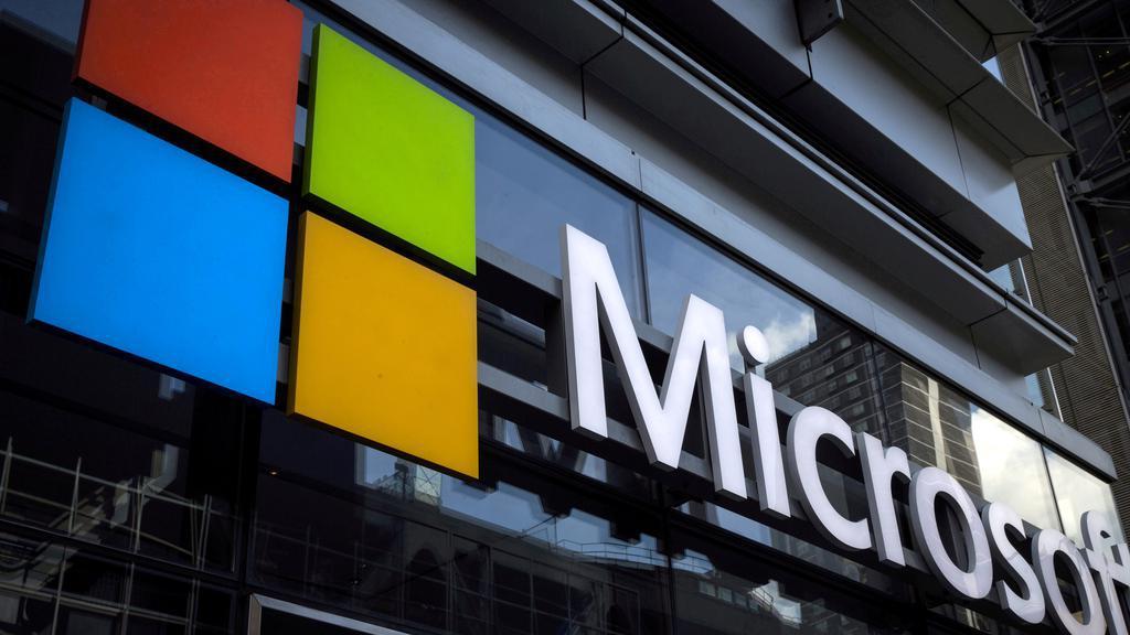FILE PHOTO_ Microsoft logo on an office building in New York, U.S..jpg