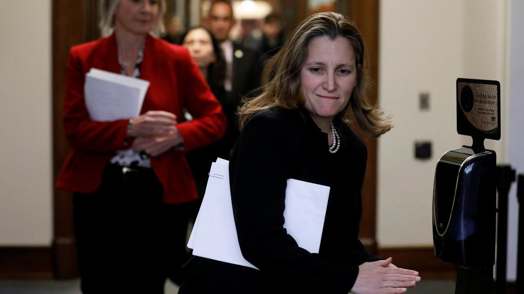 Canada''s Deputy PM Freeland arrives at news conference on Parliament Hill in Ottawa