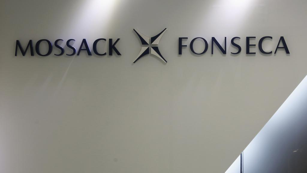The company logo of Mossack Fonseca is seen inside the office of Mossack Fonseca