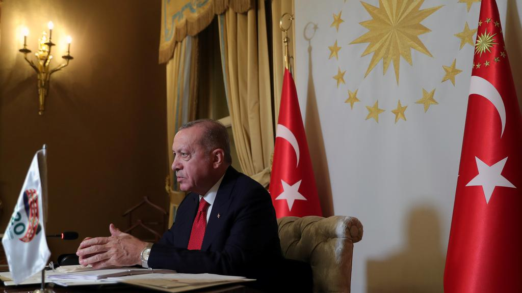Turkish President Erdogan takes part in a video conference in Istanbul during the G20 Leaders'' Summit 2020