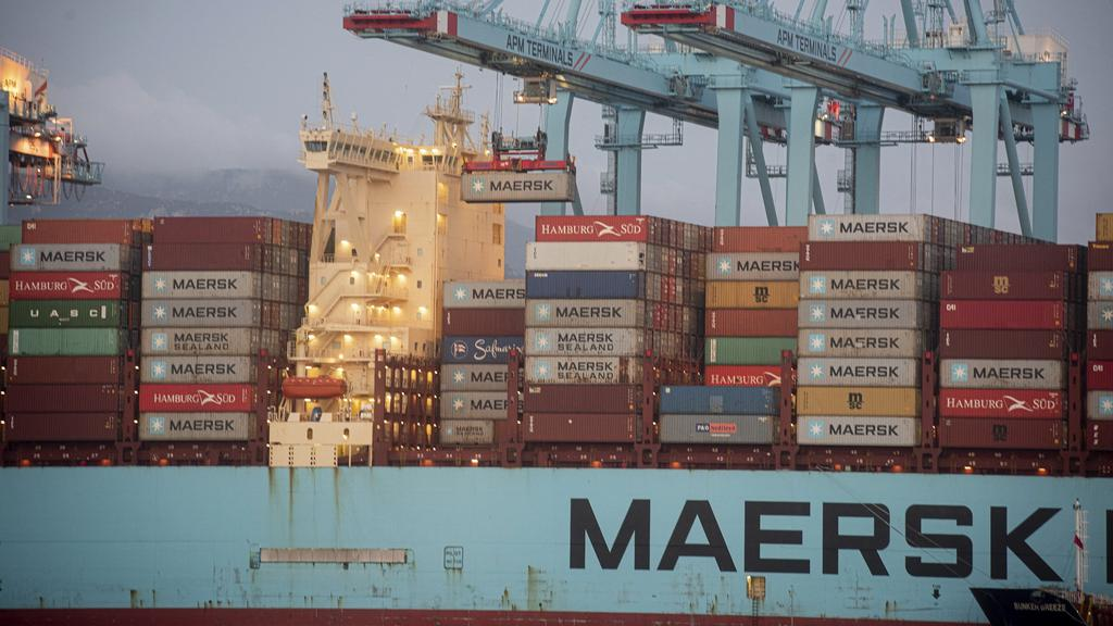 The ships Maersk Denver and Mary Maersk in the port of Algeciras, coming from the Suez Canal.