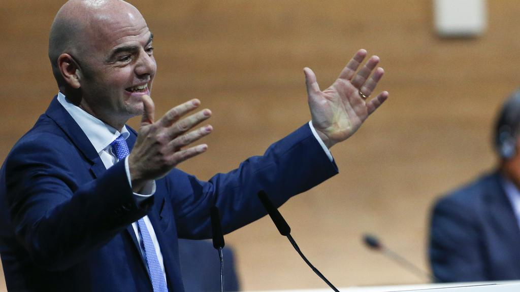 Newly elected Fifa President Gianni Infantino gestures as he speaks during the Extraordinary Congress in Zurich