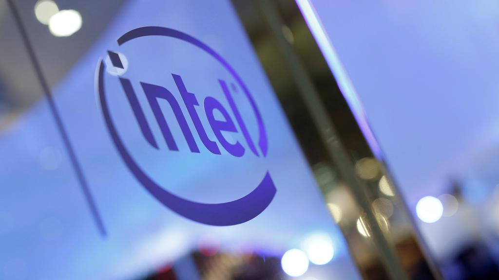 The logo of Intel is seen during the annual Computex computer exhibition in Taipei