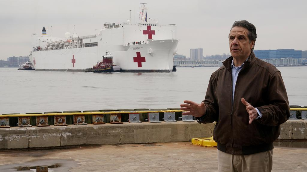 New York governor Andrew Cuomo speaks as the USNS Comfort pulls into a berth in Manhattan during the outbreak of Coronavirus disease (COVID-19), in the Manhattan borough of New York City